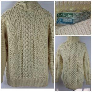 John Molloy Ireland Aran Sweater Handknit Wool Lg.
